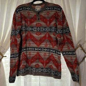 Western Nordic vibe henley sweater